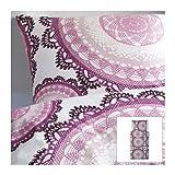 IKEA Bettwäsche-Set 'Lyckoax' Bettgarnitur 140x200 cm und 80x80 cm - weiß lila rosa - 100% Kammgarnbaumwolle - Fadendichte 207