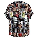 Kanpola Leinenhemd Herren Hemden Kurzarm Freizeithemd Hawaii Blumen Gedruckt Hemd Sommer Locker Shirt Strand Atmungsaktives Kurzarmhemd Männer