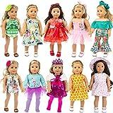 ZITA ELEMENT 10 Set Puppenkleidung Kleider für 40cm-46cm Puppen und 16-18 Zoll Americal Girl Dolls Traumkleid Bekleidung Blumenkleid Sommerkleid Puppenkleider