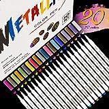 Emooqi Acrylstifte Marker Stifte, Metallic Stifte 20 Farben Marker Paint Pen Schnelltrocknend Premium Paint Marker Set Acrylstifte Marker Stifte für Steine, DIY Fotoalbum, Metall