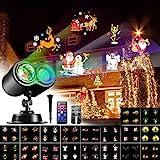 VOKSUN Weihnachten Projektor, LED Projektorlampe Wasserwellen-Welleneffekt &18 Dynamisch Szenen, Wasserdichte Projektor Lichter mit Fernbedienung für Außen Innen Dekoration Weihnachten Halloween Party