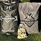 BBQKontor 20kg Premium Aktion: 10kg Quebracho-Holzkohle vs. 10kg Buchen-Holzkohle Grillkohle + 20 Anzünder