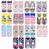 CHIC DIARY Bunte Sneaker Socken Alpaka Muster Mädchensocken mit Süßes Tier Motiv aus Polyester für Mädchen Kinder, 14 Paar, Einheitsgröße