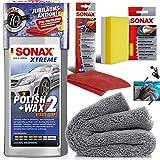 detailmate Handpolitur Set: SONAX Xtreme Polish + Wax 2, 500ml + Mikrofasertuch + Apllikationsschwamm + ultraflausch Poliertuch + Schutzhandschuhe