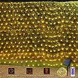 Solar LED Lichternetz 4.5 X 1.5M 192LED Außen Lichterkette Wasserdichte Mesh Lichtervorhang mit Fernbedienung & Timer 8 Modi für Weihnachten Partydekoration Geburstag Hochzeit Wohnzimmer(Warmweiß)
