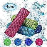 BELIOF 4 Stücke Kühlendes Handtuch Mikrofaser Kühltücher in Vier Farben Premimum Kühltuch für Sommer Perfekt als Kühlendes Sporthandtuch für Fitnessstudios Joggen Yoga