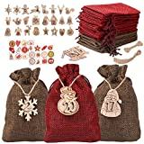 Adventskalender zum Befüllen, 24 Jute Beutel für Adventskalender Weihnachten Stoffbeutel mit Holzanhänger, Holzklammern und Zahlen Aufkleber, DIY Natur Säckchen Geschenksäckchen