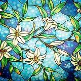 Lifetree Fensterfolie Glasmalerei Dekofolie Privatsphäre Sichtschutzfolie Statisch haftenden Glasaufkleber Ohne Klebstoff Milchglasfolie Orchidee für Zuhause und Büro 45 * 200 cm