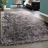 Paco Home Edler Teppich Shaggy Hochflor Einfarbig Flauschig Glänzend In Grau Hellgrau, Grösse:120x170 cm