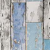 ecosoul Wachstuchtischdecke Scrapwood abwaschbar grau weiß hellblau Holz-Optik Outdoor-Tischdecke Länge Breite 140 cm Länge 200 cm