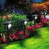 Leolee Solarlampen für Außen, [4 Stück] Solarleuchten Garten Sehr Hell LED Solar Strahler 2 Modi mit Bewegungsmelder IP65 Wasserdicht Auto Ein/Aus Solarlicht für Bäume, Rasen, Sträucher, Gartenweg