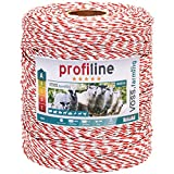 VOSS.farming Weidezaunlitze Profiline 1000m, 1x0,25 Kupfer, 8x0,2 NIRO, Weiß Rot Elektrozaun Elektrolitze Pferd Rind Pony Leitermaterial