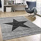 VIMODA Stern Muster Teppich Meliert in Grau Schwarz Stylish Indoor Accessoire, Maße:160x220 cm