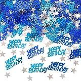 APERIL Happy Birthday Geburtstag Konfetti Silber Stern Konfetti Pailletten, 30g Tischkonfetti, Geburtstag Konfetti für Jungen Mädchen Geburtstagsfeier Dekoration-Blau
