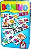 Schmidt Spiele 51240 Domino Junior, Bring Mich mit Spiel in der Metalldose, meerkleurig