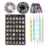4 in 1 Nägel Design Set: 2 Set Strasssteine + 30 Striping Tapes + 5 Punktierung Kugelschreiber + 1 Nail Stamping Druckplatte, Nageldesign Stift Steine Perlen Fingernägel Machen