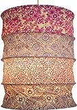 Guru-Shop Runde Papier Hängelampe, Lokta Papierlampenschirm Kailash, Handgeschöpftes Papier - Pink/lila, Lokta-Papier, 35x28x28 cm, Handgemachte Deckenleuchte
