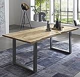 SAM Esszimmertisch 140x80 cm Quintus, echte Baumkante, naturfarben, massiver Esstisch aus Akazienholz, Metallbeine Silber, Baumkantentisch