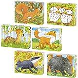cama24com Würfelpuzzle Kinderpuzzle Tiere Waldtiere 6 Motive mit Palandi® Sticker