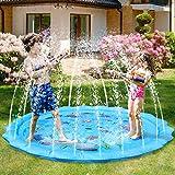 Fostoy Sprinkler Play Matte, Wasserspielmatte Garten, Sommer Garten Wasserspielzeug Wasser-Spielmatte Kinder Baby Pool Pad Spritzen Spielzeug