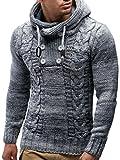 Leif Nelson Herren Strick-Pullover Strick-Pulli mit Kapuze Moderner Winter Woll-Pullover Langarm-Sweatshirt Slim Fit LN20227 Grau X-Large