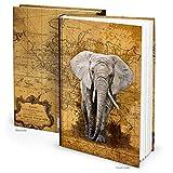 XXL Notizbuch DIN A4 ELEFANT AFRIKA VINTAGE Blankobuch Weltkarte Reisetagebuch Tagebuch blanko Buch Nostalgie Notebook antik Geschenk