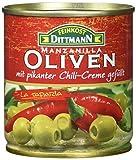 Feinkost Dittmann Grüne Oliven gefüllt mit Chilicreme, 8er Pack (8 x 85 g)