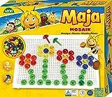 Lena 35613 Mosaik Steckspiel Set Biene Maja, Steckmosaik mit 80 farbigen Stecker, Mosaikstecker 15 mm, Mosaikspiel für Kinder ab 3 Jahre, Komplettset mit Steckplatte ca. 21 x 16 cm, transparentfarbig