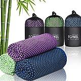 Zacro 3 Stück Kühlendes Handtuch, 40% Bambus Mikrofaser Weich Atmungsaktiv für Sportliche Aktivitäten, Sport,Yoga, Pilates
