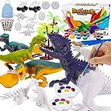 Magicfun Dinosaurier Malset für Kinder, DIY Malen Sie Ihre eigenen Dinosaurierfiguren, 36 Stück ungiftige Bastelset Dinosaurier Spielzeug mit T-Rex Triceratops, Geschenke für Jungen Mädchen
