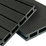 WPC Terrassendielen Basic Line - Komplett-Set Dunkelgrau   12m² (4m x 3m) Holz-Brett Dielen   Boden-Fliesen + Unterkonstruktion & Clips   Balkon Boden-Belag + rutschfest + witterungsbeständig