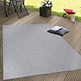 Paco Home In- & Outdoor Flachgewebe Teppich Terrassen Teppiche Natürlicher Look In Grau, Grösse:140x200 cm