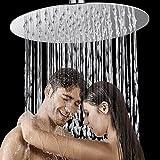 HG Power Kopfbrause Regendusche, Einbauduschköpfe Edelstahl Duschkopf Regenbrause Brausekopf aus Edelstahl mit Anti-Kalk-Düsen poliert Spiegeleffekt hochglänzend (8 Zoll Rund) - Mehrweg