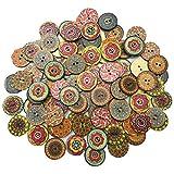 Joyibay 100 Stück Holzknopf Jahrgang Blumendruck DIY Runder Knopf Bastelknopf Nähknopf
